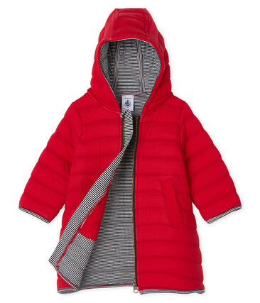 Baby Girls' Quilted Tube Knit Coat Terkuit red