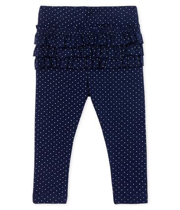 Baby Girls' Printed Ruffled Leggings Smoking blue / Marshmallow white