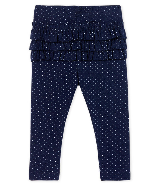 Baby Girls' Printed Ruffled Leggings Smoking blue / Marshmallow white