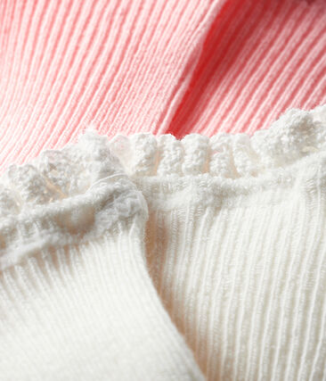 Set of 2 pairs of socks for baby girls Minois pink