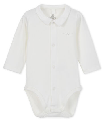 Baby boys' long-sleeved bodysuit with collar Marshmallow white