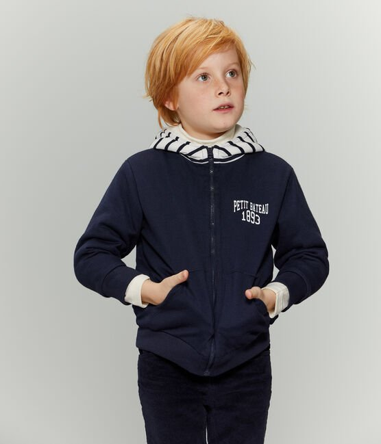Boys' Reversible Zipped Sweatshirt Smoking blue