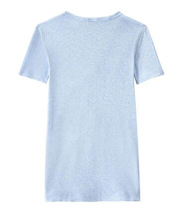 Women's original rib V-neck T-shirt Cumulus Chine blue