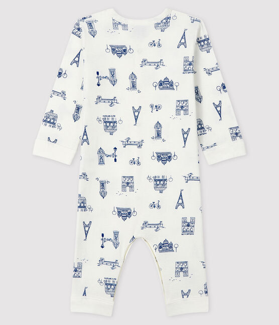 Babies' Footless Ribbed Paris Sleepsuit Marshmallow white / Major blue