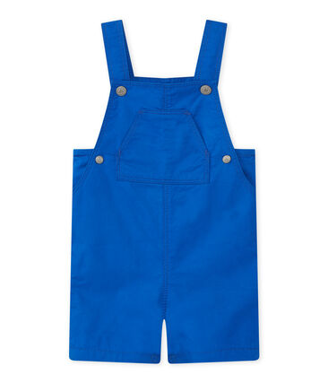 Baby boys' striped short dungarees Perse blue