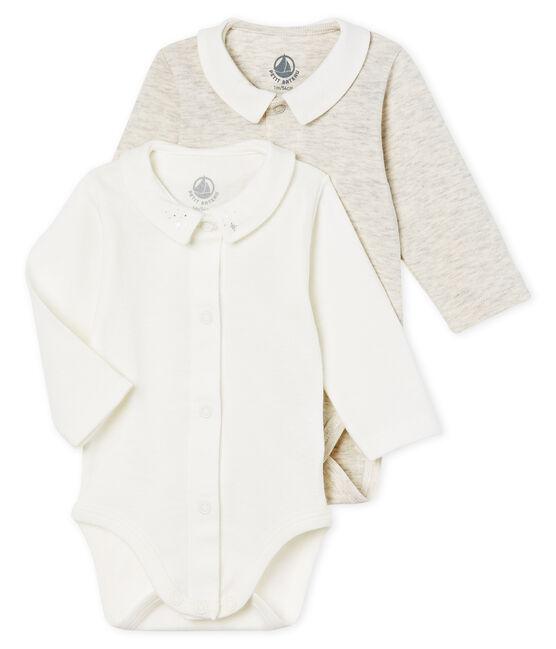 Baby boys' long-sleeved bodysuit with collar - 2-piece set . set