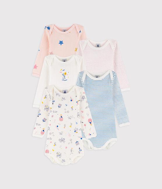 Baby girls' long-sleeved bodysuit - Set of 5 . set