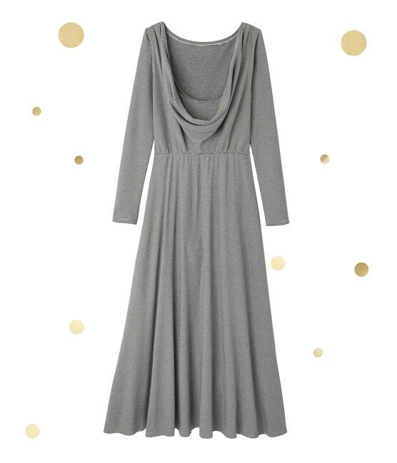 Robe longue femme à manches longues. Petit bateau x Marie-Agnès Gillot Smoking blue / Coquille beige