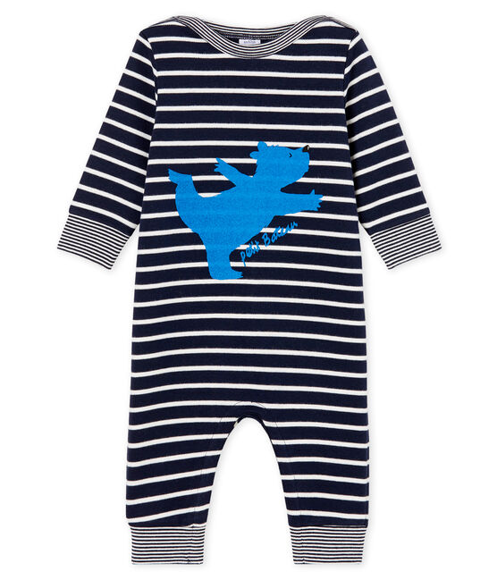Baby Boys' Sailor Striped Long Jumpsuit Smoking blue / Marshmallow white