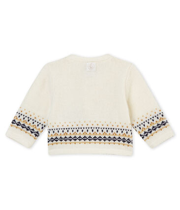 Baby boy's cardigan in knit jacquard Marshmallow white