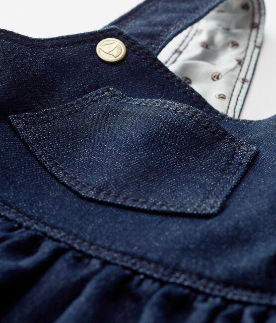 Baby girls' dungaree dress in denim look jersey Jean blue
