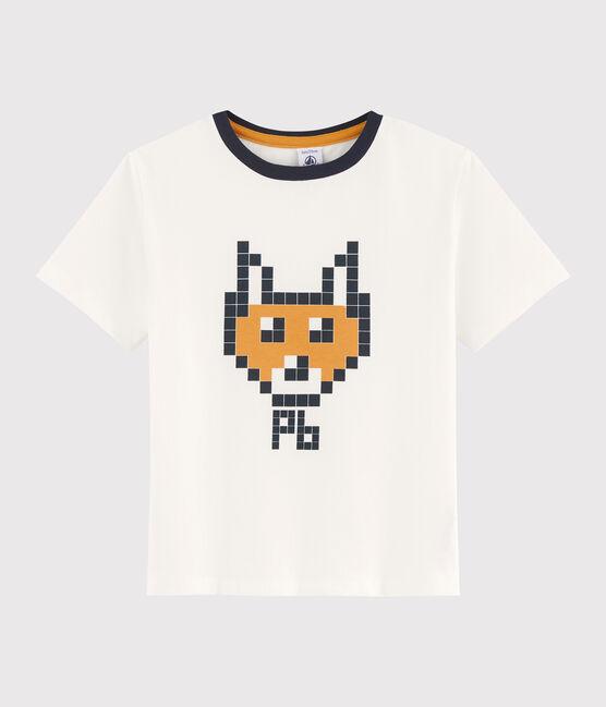 Boys' silkscreen print T-shirt Marshmallow white