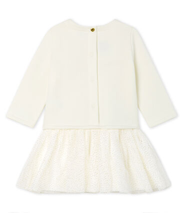 Baby Girls' Long-Sleeved Dual Material Dress Marshmallow white