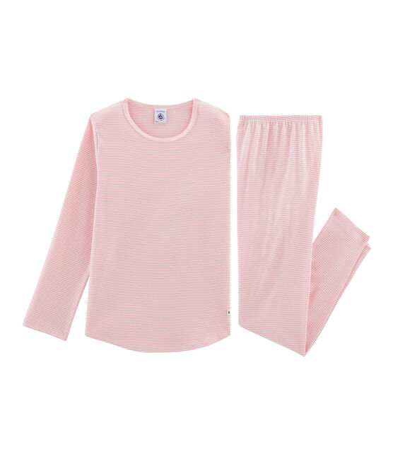 Girls' Ribbed Pyjamas Charme pink / Marshmallow white