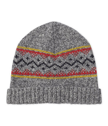 Boy's wool blend cap Subway grey / Multico white