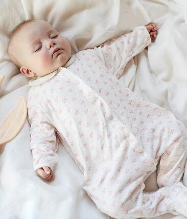 Baby Girls' Tube Knit Sleepsuit Marshmallow white / Gretel pink