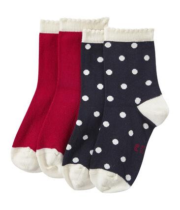 Set of 2 pairs of girl's socks