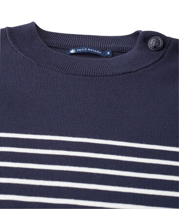 men's sailor jumper with placed stripe Smoking blue / Lait white