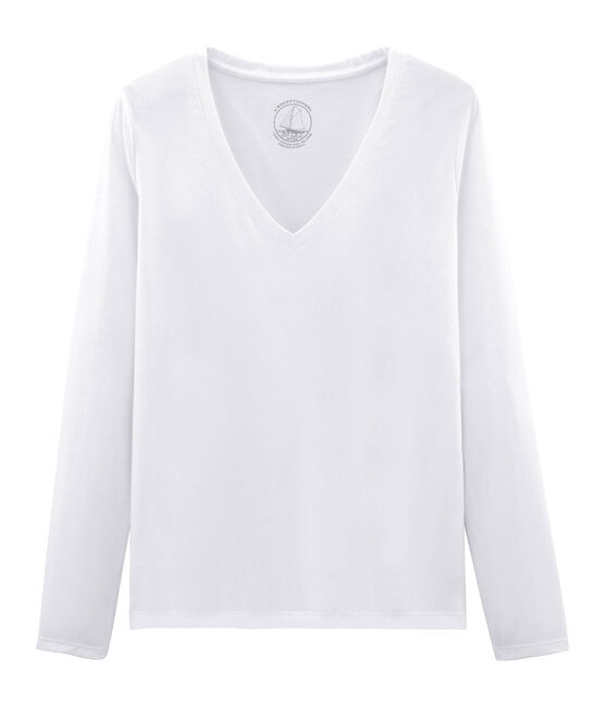 Women's Long-Sleeved Sea Island Cotton T-Shirt Ecume white