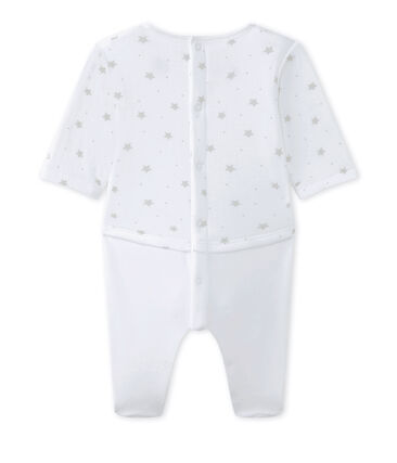 Baby's unisex dual-fabric chemisette-all-in-one Ecume white / Shitake brown