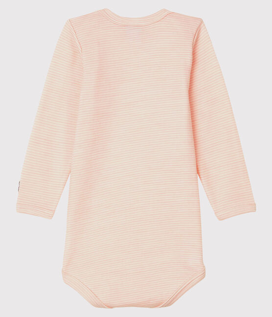 Babies' Striped Long-Sleeved Bodysuit in Cotton/Wool Charme pink / Marshmallow white