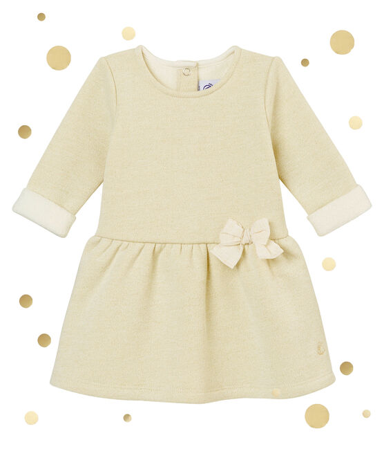 Baby girl's shiny cotton sweatshirt dress Marshmallow white / Dore yellow