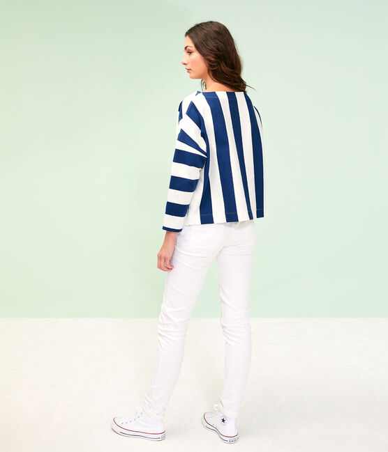 Women's Sailor Top Medieval blue / Marshmallow white