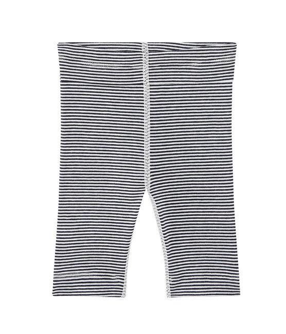Baby's unisex milleraies-striped leggings Smoking blue / Lait white