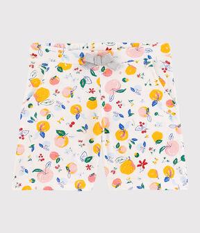 Girl's Cotton Shorts Marshmallow white / Multico white