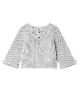 Baby Girl's Wool/Cotton Moss Stitch Cardigan Beluga grey