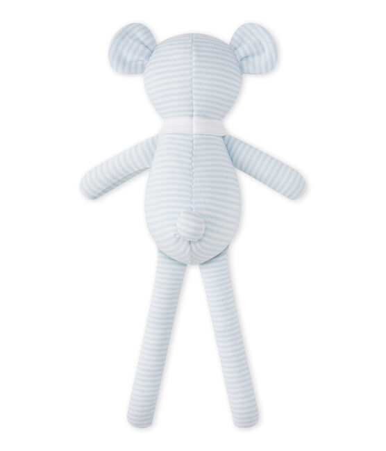 Bear comfort object in milleraies stripes Fraicheur blue / Ecume white