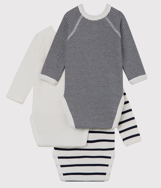 Babies' Long-sleeved Wrapover Organic Cotton Bodysuits - 3-Pack . set