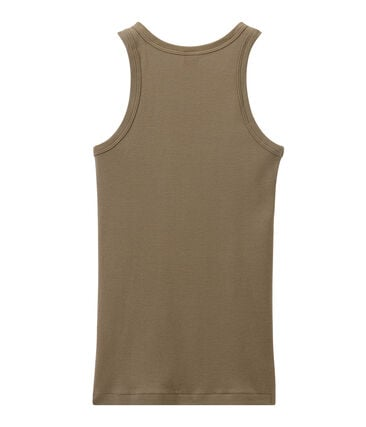 Women's vest top in heritage rib Shitake brown