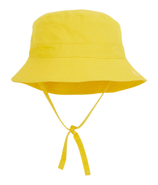 Baby's unisex sun hat made of plain twill. Gengibre yellow