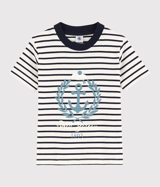 Boys' Short-Sleeved Jersey T-Shirt Marshmallow white / Smoking blue