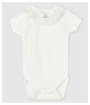 Baby Girls' White Short-Sleeved Organic Cotton Bodysuit with Collar Marshmallow white