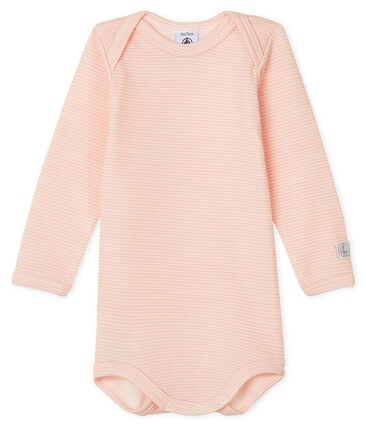 Baby Long-Sleeved Bodysuit in Cotton/Wool Charme pink / Marshmallow white