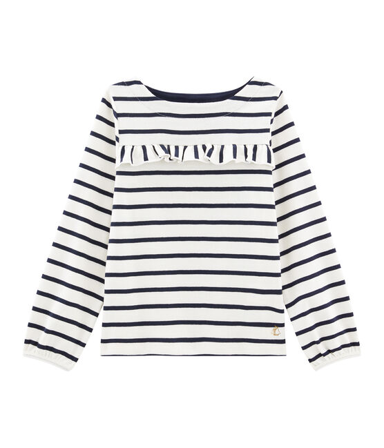 Girls' T-Shirt Coquille beige / Smoking blue