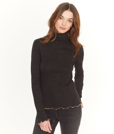 Women's Glittery Undershirt Noir black / Or yellow