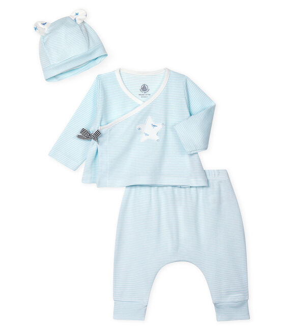 Babies' Ribbed Clothing - 3-Piece Set Amandier green / Marshmallow white
