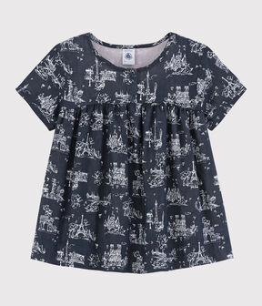 Girls' Short-Sleeved Tube Knit Blouse Smoking blue / Ecume white