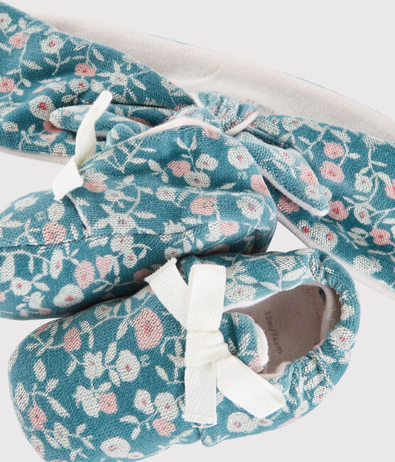 Baby Girls' Floral Velour Headband and Bootees Set MOZAIK/MULTICO