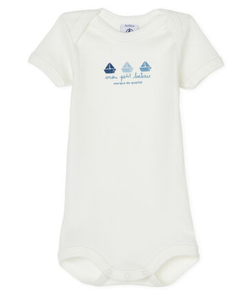Baby boys-girls' short-sleeved bodysuit Marshmallow white