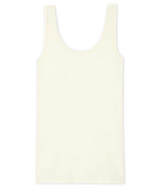 Women's Sleeveless Top in 2x2 Rib Knit Marshmallow white
