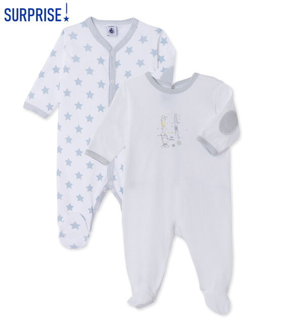 Surprise pack of 2 ribbed baby boy's sleepsuits . set