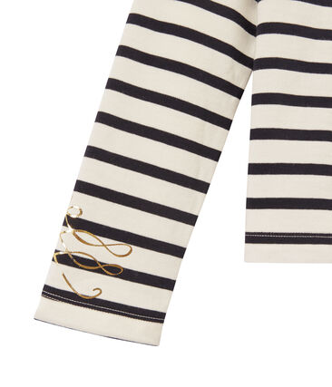 Girl's long-sleeved sailor top in heavyweight jersey