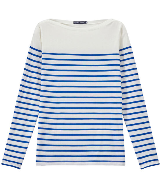 Women's striped sleeveless tee Marshmallow white / Perse blue
