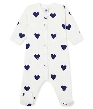 Baby girls-boys' ribbed sleepsuit Marshmallow white / Medieval blue