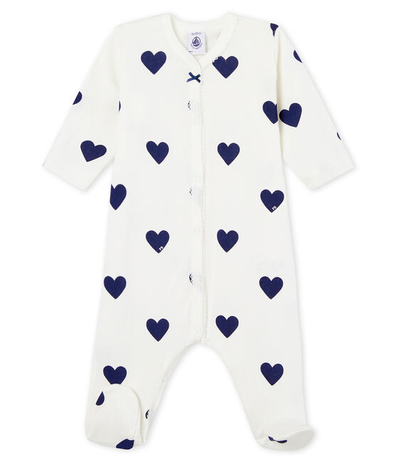Baby girls-boys' ribbed sleepsuit Marshmallow white / Medieval blue