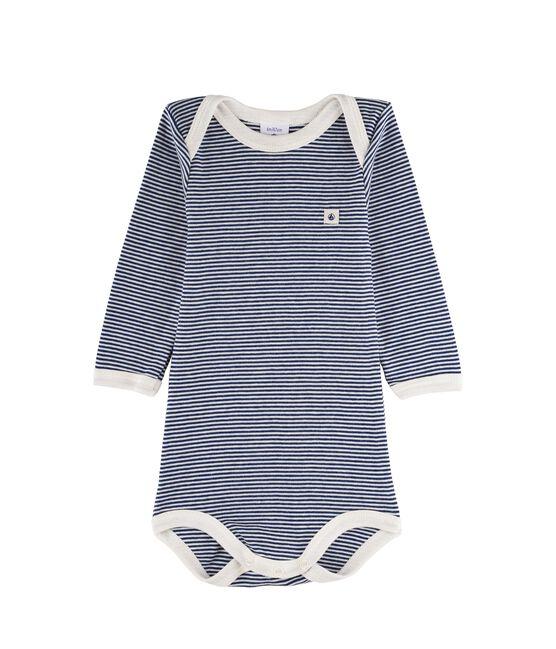 Baby Boys' Long-Sleeved Bodysuit Medieval blue / Marshmallow white